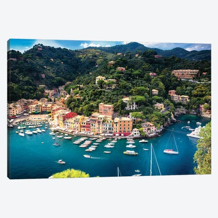 Portofino With The Inner Harbor, Liguria, Italy Canvas Print #GOZ345} by George Oze Canvas Print