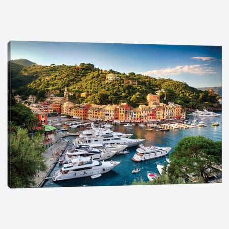 Portofino Harbor With Yachts, Liguria, Italy Canvas Print #GOZ346} by George Oze Canvas Print