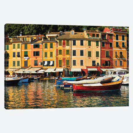 Portofino Harbor Scene, Liguria, Italy Canvas Print #GOZ347} by George Oze Art Print