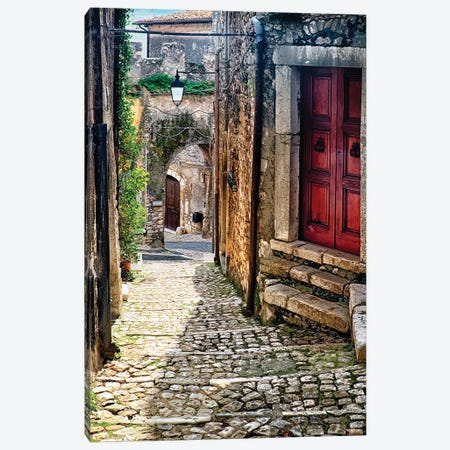 Narrow Cobblestone Street Of Sermoneta, Italy Canvas Print #GOZ348} by George Oze Canvas Wall Art