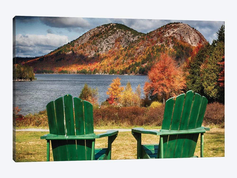 Two Adirondack Chars At Jordan Pond, Mt, Desert Island, Acadia National Park, Maine by George Oze 1-piece Canvas Artwork