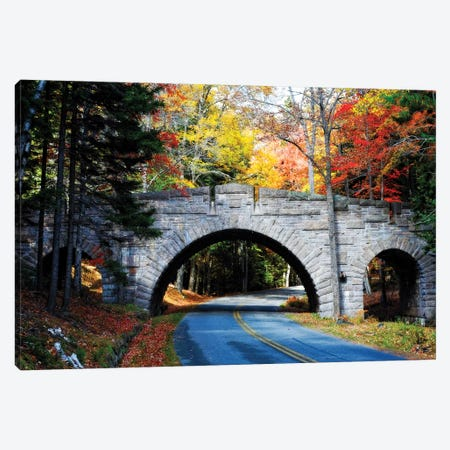 Stone Bridge Over A Carriage Road, Acadia National Park, Maine Canvas Print #GOZ352} by George Oze Canvas Art Print