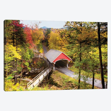 The Flume Covered Bridge, New Hampshire. Canvas Print #GOZ355} by George Oze Canvas Artwork