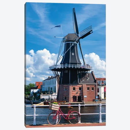 Bicycle And A Windmill, Haarlem, The Netherlands Canvas Print #GOZ356} by George Oze Canvas Wall Art