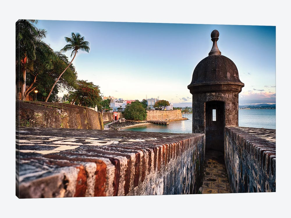 The City Walls And Gate Of Old San Juan With A Sentry Post, Puerto Rico by George Oze 1-piece Canvas Wall Art