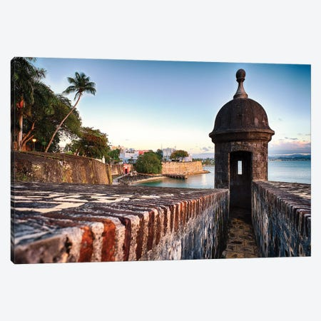 The City Walls And Gate Of Old San Juan With A Sentry Post, Puerto Rico Canvas Print #GOZ358} by George Oze Art Print