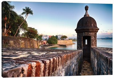 The City Walls And Gate Of Old San Juan With A Sentry Post, Puerto Rico Canvas Art Print