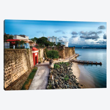 The The City Gate And The La Fortelaza Building In Old San Juan, Puerto Rico Canvas Print #GOZ359} by George Oze Canvas Art Print