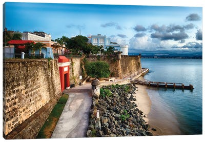 The The City Gate And The La Fortelaza Building In Old San Juan, Puerto Rico Canvas Art Print