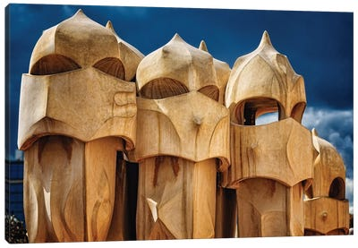 Chimneys of La Pedrera, Barcelona, Catalonia, Spain Canvas Art Print