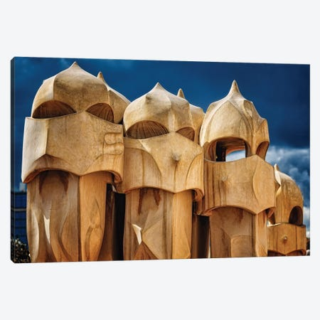 Chimneys of La Pedrera, Barcelona, Catalonia, Spain 3-Piece Canvas #GOZ35} by George Oze Canvas Print