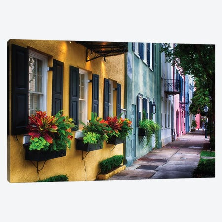 Rainbow Row, Row Of Colorful Historic Houses,East Bay Street, Charleston, South Carolina Canvas Print #GOZ361} by George Oze Canvas Art