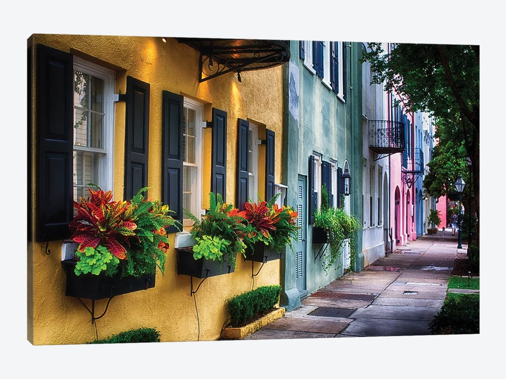 Rainbow Row, Row Of Colorful Historic Houses,East Bay Street, Charleston, South Carolina 1-piece Canvas Wall Art