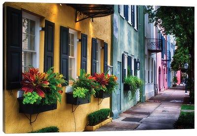 Rainbow Row, Row Of Colorful Historic Houses,East Bay Street, Charleston, South Carolina Canvas Art Print