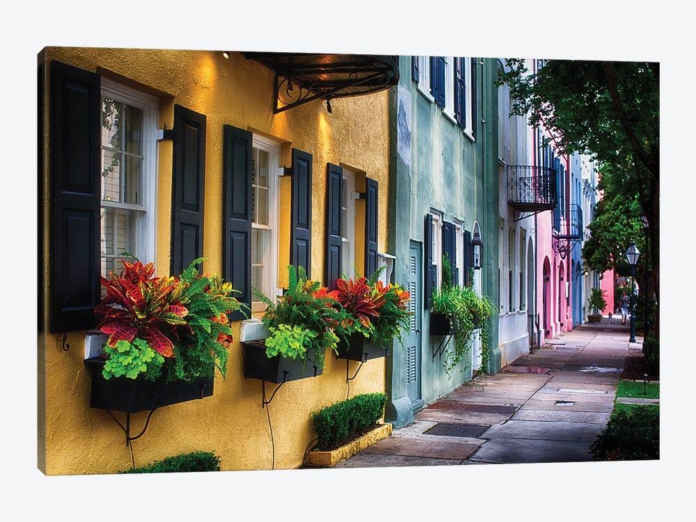 Rainbow Row, Row Of Colorful Historic Houses,East Bay Street, Charleston, South Carolina by George Oze 1-piece Canvas Wall Art