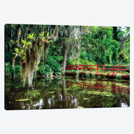 Little Red Footbridge Over A Pond, Magnolia Plantation, Charleston, South Carolina Canvas Print #GOZ362} by George Oze Canvas Wall Art