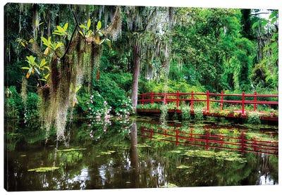 Little Red Footbridge Over A Pond, Magnolia Plantation, Charleston, South Carolina Canvas Art Print