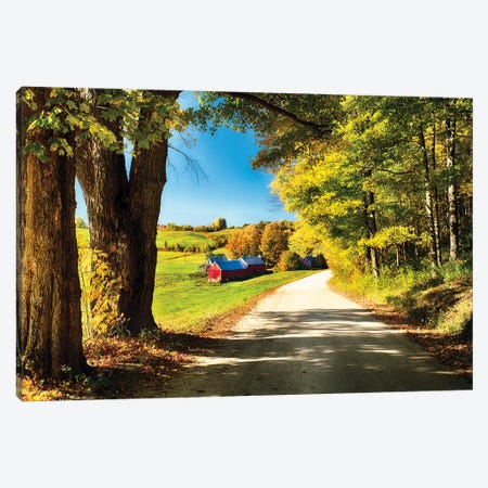 Vermont Farm Along A Country Road Canvas Print #GOZ364} by George Oze Canvas Art Print