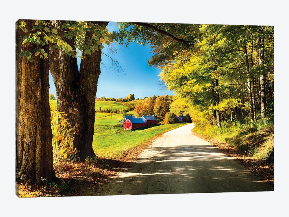 Vermont Farm Along A Country Road by George Oze 1-piece Canvas Art Print