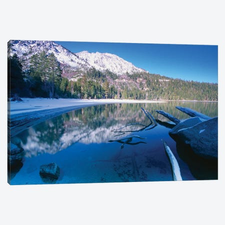 Tranquil Winter Bay Scene, Emerald Bay, Lake Tahoe, California Canvas Print #GOZ366} by George Oze Art Print