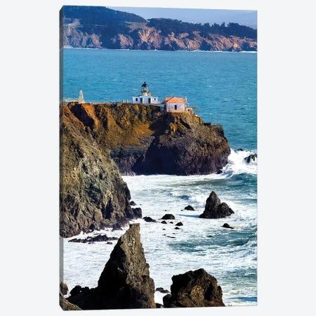 Point Bonita Lighthouse On A Cliff, San Francisco Bay, California Canvas Print #GOZ368} by George Oze Canvas Artwork