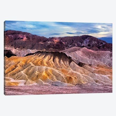 Eroded Mountains At Zabriskie Point, Detah Valle, California Canvas Print #GOZ369} by George Oze Canvas Art