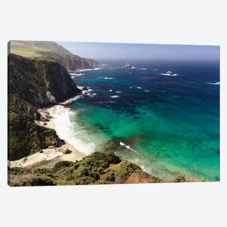 Rugged Big Sur Coastline At Ruocky Creek, California Canvas Print #GOZ372} by George Oze Canvas Art Print