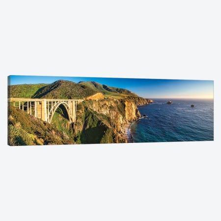 Big Sur Coast Panorama At The Bixby Creek Bridge, California Canvas Print #GOZ374} by George Oze Canvas Wall Art