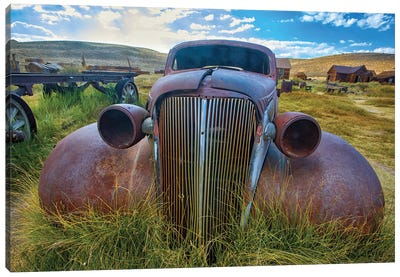 Old Car Rusting Away In A Ghost Town, Bodie, California Canvas Art Print