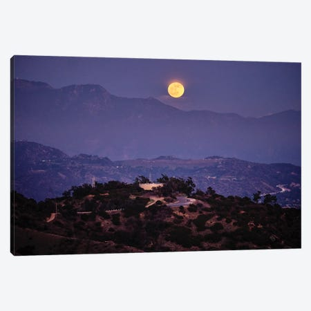 Moon Rise Over Griffith Park, Los Angeles, California 3-Piece Canvas #GOZ376} by George Oze Canvas Art
