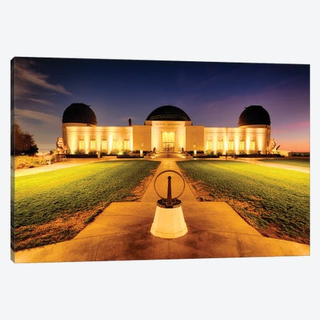 Griffith Observatory Lit Up At Night, Los Angeles, California Canvas Print #GOZ377} by George Oze Canvas Art