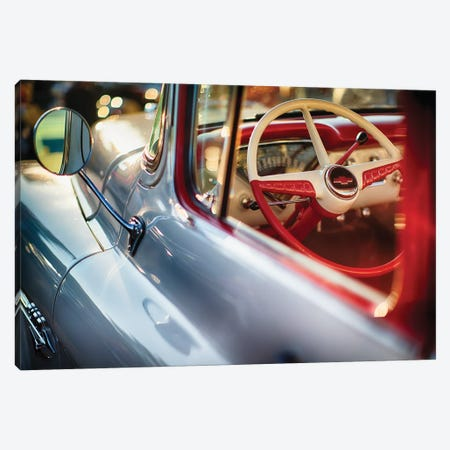 Classic Chevrolet Pick Up Truck Steering Wheel View Canvas Print #GOZ37} by George Oze Canvas Art Print