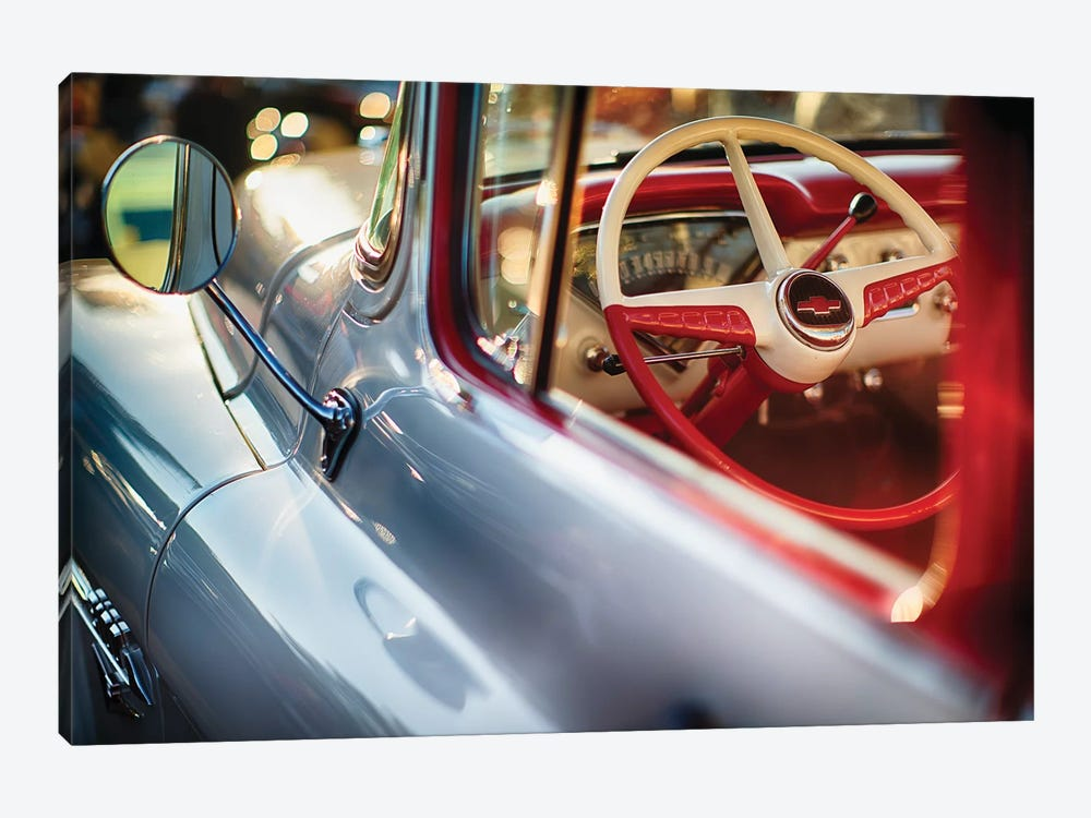 Classic Chevrolet Pick Up Truck Steering Wheel View by George Oze 1-piece Canvas Print