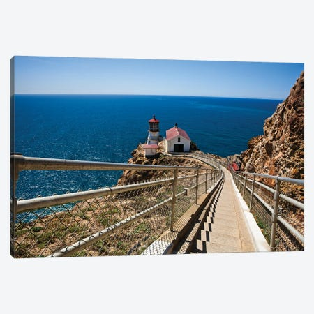 High Angle View Of The Point Reyes Lighthouse,California Canvas Print #GOZ380} by George Oze Canvas Artwork