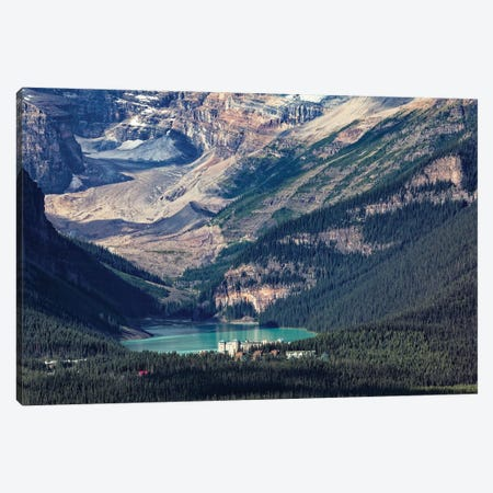 High Angle View Of The Chateau Lake Louise, Alberta, Canada Canvas Print #GOZ381} by George Oze Canvas Artwork