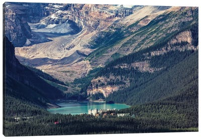 High Angle View Of The Chateau Lake Louise, Alberta, Canada Canvas Art Print