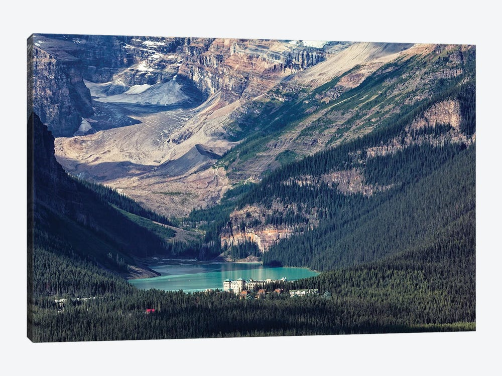 High Angle View Of The Chateau Lake Louise, Alberta, Canada by George Oze 1-piece Canvas Artwork