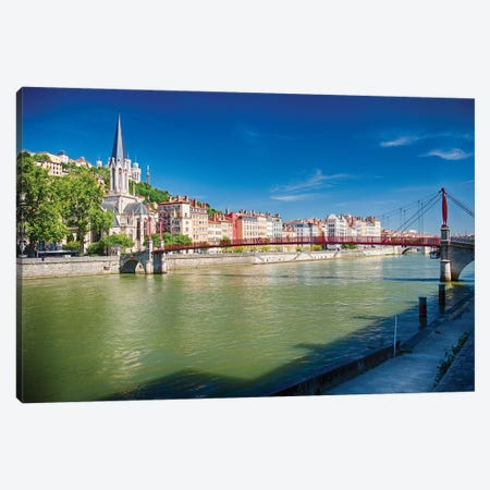 Footbridge Over The Saone River, Lyon, France Canvas Print #GOZ383} by George Oze Canvas Art