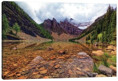 Tranquil View Of Lake Agnes, Banff National Park, Alberta, Canada. Canvas Art Print