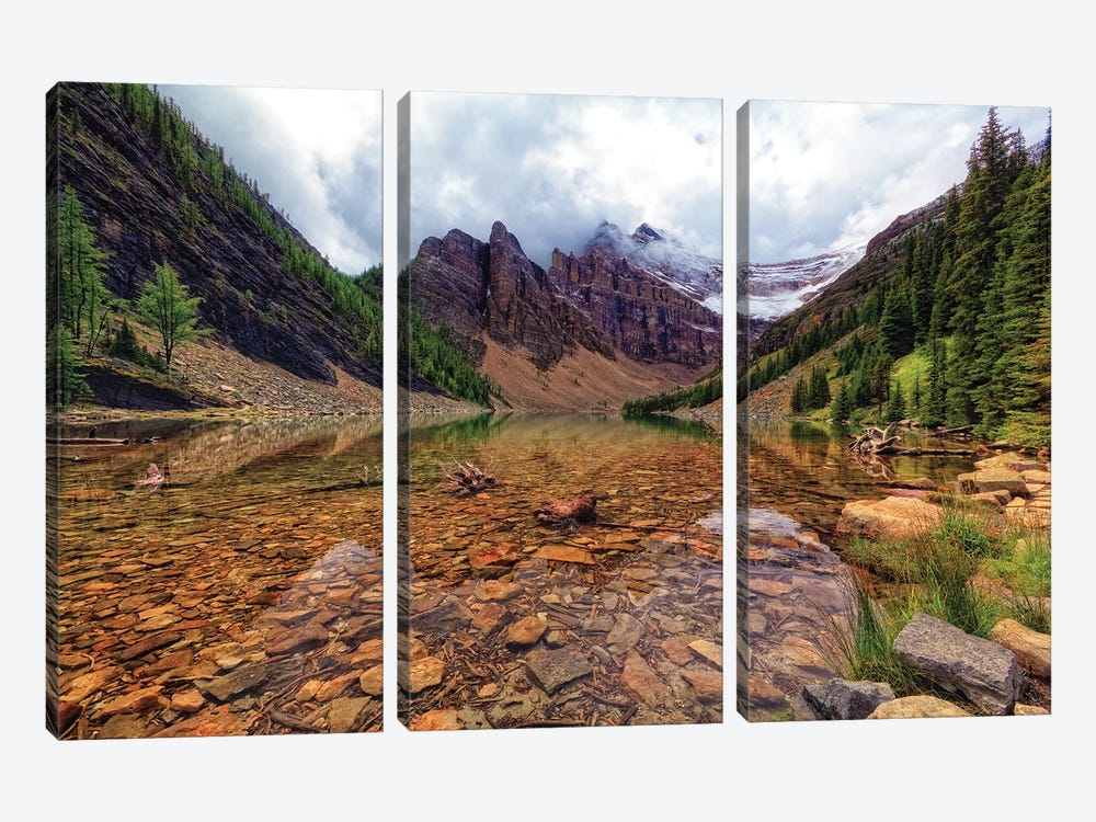 Tranquil View Of Lake Agnes, Banff National Park, Alberta, Canada. by George Oze 3-piece Canvas Art Print