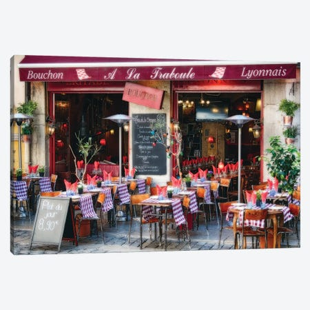 Bistro Open For Lunch, Lyon, France Canvas Print #GOZ385} by George Oze Art Print
