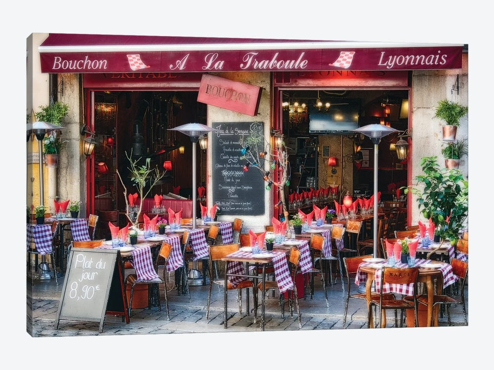 Bistro Open For Lunch, Lyon, France by George Oze 1-piece Canvas Wall Art