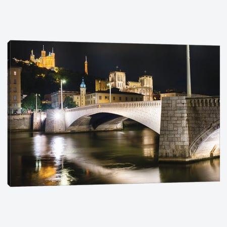 Bonaparte Bridge At Night, Lyon, France Canvas Print #GOZ388} by George Oze Canvas Art