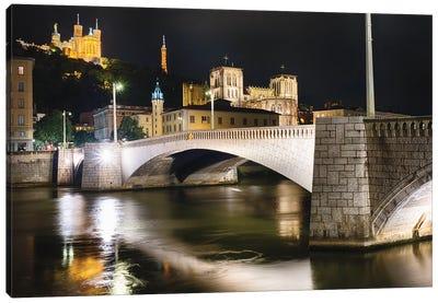 Bonaparte Bridge At Night, Lyon, France Canvas Art Print