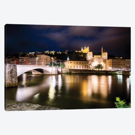 Old Lyon Night Scenic With The Bonaparte Bridge, France Canvas Print #GOZ389} by George Oze Canvas Artwork