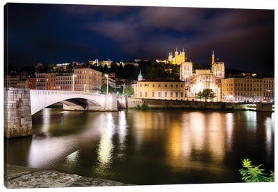 Old Lyon Night Scenic With The Bonaparte Bridge, France Canvas Art Print