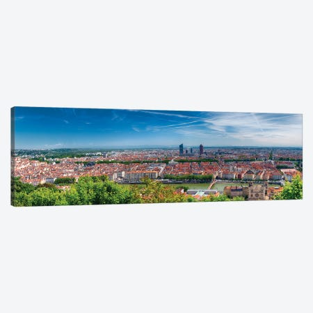Panoramic View Of Lyon From The Fourvière Hill, France Canvas Print #GOZ390} by George Oze Art Print