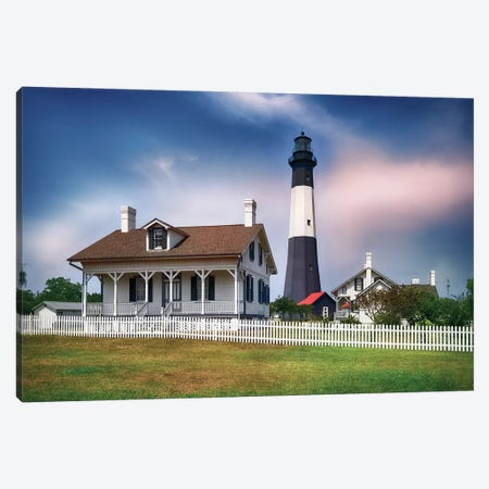 Tybee Island Lighthouse With The Keeper's Cottage, Savannah Beach, Georgia Canvas Print #GOZ391} by George Oze Canvas Art Print