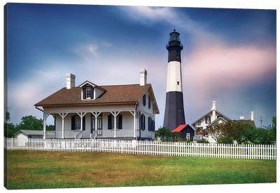 Tybee Island Lighthouse With The Keeper's Cottage, Savannah Beach, Georgia Canvas Art Print