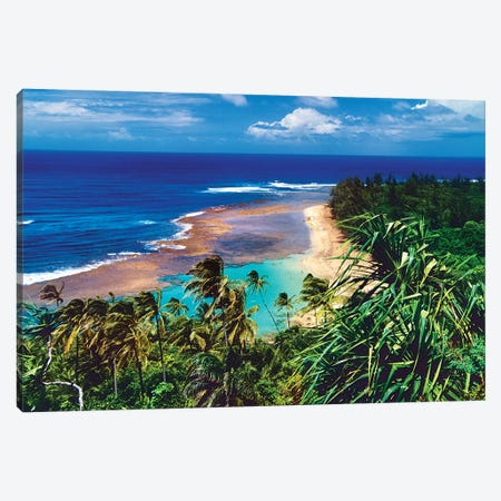 Ke'E Beach Viewed From The Kalalau Trail, North Shor Kauai, Hawaii Canvas Print #GOZ392} by George Oze Canvas Art Print